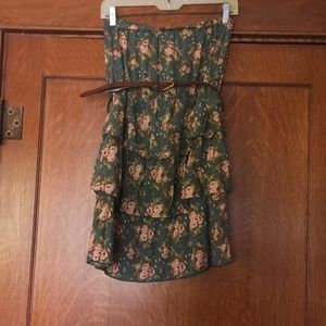 Anthropologie Mine belted ruffled strapless tunic